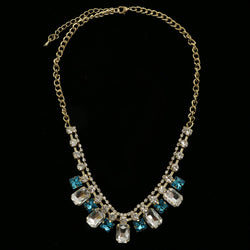 Luxury Crystal Necklace Gold/Blue NWOT