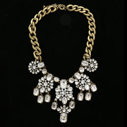 Luxury Crystal Antiqued Necklace Gold NWOT