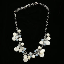 Luxury Shell Necklace Silver/White NWOT
