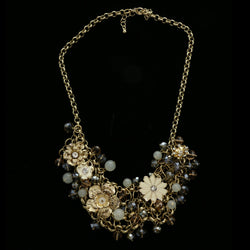 Luxury Crystal Flower Necklace Gold & White NWOT