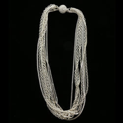 Luxury Crystal Magnetic Clasp Necklace Silver NWOT