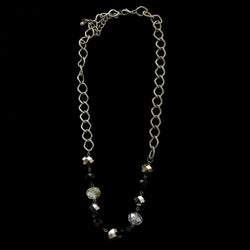 Luxury Faceted Necklace Gunmetal/Black NWOT