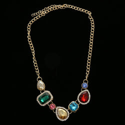 Luxury Crystal Necklace Gold/Multicolor NWOT