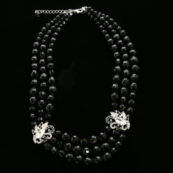 Luxury Crystal Necklace Silver/Black NWOT