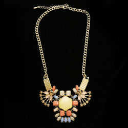 Luxury Faceted Necklace Gold/Peach NWOT