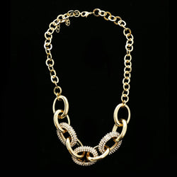 Luxury Crystal Chain Links Necklace Gold NWOT