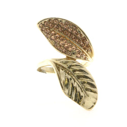 Mi Amore Leaves Sized-Ring Gold-Tone/Peach Size 8