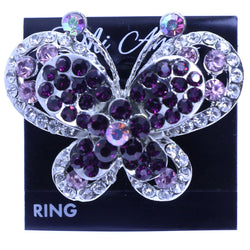 Mi Amore Butterfly Adjustable-Ring Silver-Tone/Purple Size: Adjustable