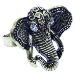 Mi Amore Elephant Adjustable-Ring Gold-Tone/Clear Size: Adjustable