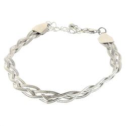 Mi Amore Braided Bangle-Bracelet Silver-Tone
