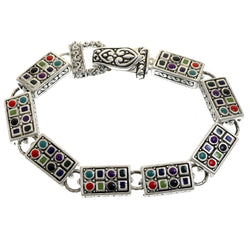 Mi Amore Antiqued Bangle-Bracelet Silver-Tone/Multicolor