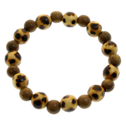 Mi Amore Wooden beads Stretch-Bracelet Brown
