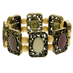 Mi Amore Filligree Antiqued Stretch-Bracelet Gold-Tone & Brown