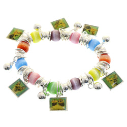 Mi Amore Cat pictures Stretch-Bracelet Silver-Tone/Multicolor