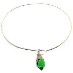 Mi Amore Crystal dangle Bangle-Bracelet Silver-Tone/Green