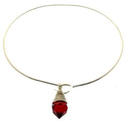 Mi Amore Crystal dangle Bangle-Bracelet Silver-Tone/Red
