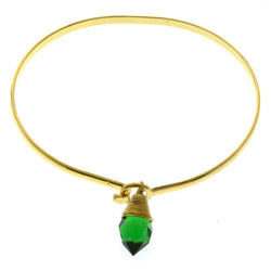 Mi Amore Crystal dangle Bangle-Bracelet Gold-Tone/Green