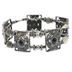 Mi Amore Filligree Stretch-Bracelet Silver-Tone/Black