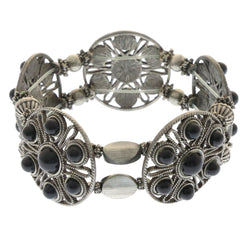 Mi Amore Filligree Bangle-Bracelet Silver-Tone/Black