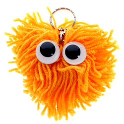 Googly-Eyed Yarn Monster Split-Ring-Keychain Orange