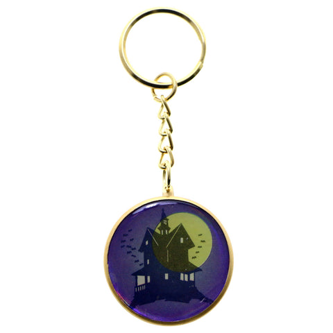 Halloween Haunted Mansion Split-Ring-Keychain Purple/Gold-Tone