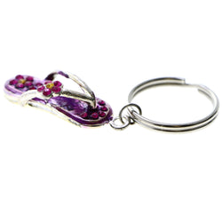Flower Flip-Flop Split-Ring-Keychain Purple/Pink