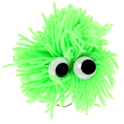 Googly-Eyed Yarn Monster Split-Ring-Keychain Green