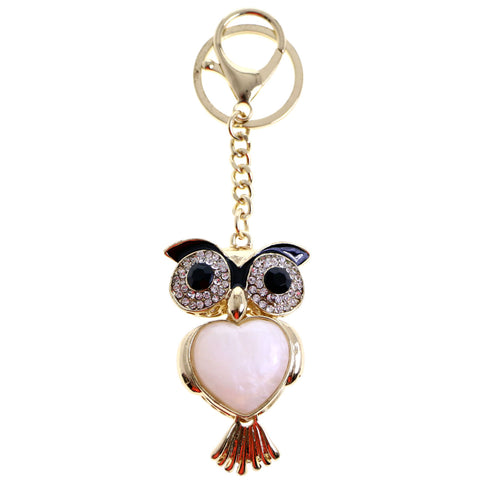 Owl Split-Ring-Keychain W/ Trigger-Snap Gold-Tone/White