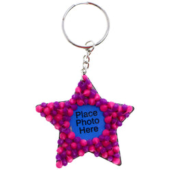 Squishy Spike Star Picture-Frame-Keychain Pink/Purple