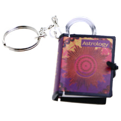 Mini Astrology Book Includes Magnifying Glass Split-Ring-Keychain Purple/Red