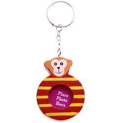 Striped Monkey Picture-Frame-Keychain Red/Yellow