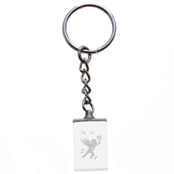 3D Laser Etching Cherub Birds Split-Ring-Keychain Clear/White