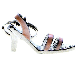 High Heel Shoe Split-Ring-Keychain Silver-Tone/Pink