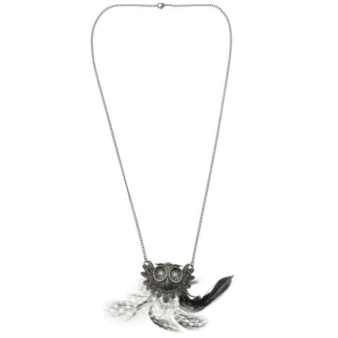 Mi Amore Owl Feathers Pendant-Necklace Multicolor & Silver-Tone