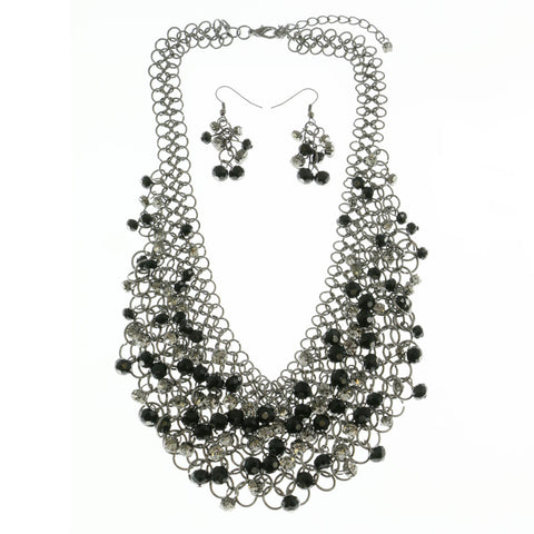 Mi Amore Adjustable Layered-Necklace Silver-Tone/Black