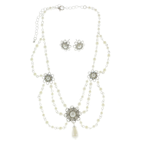 Mi Amore Snowflake Flower Adjustable Necklace-Earring-Set White & Silver-Tone