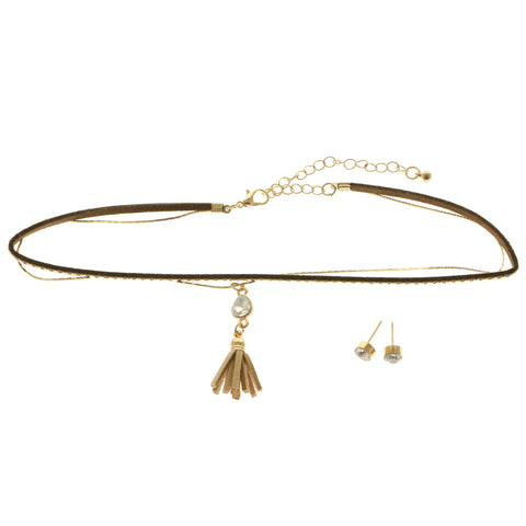 Mi Amore Tassel Necklace-Earring-Set Gold-Tone/Brown