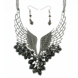Mi Amore Wings Adjustable Necklace-Earring-Set Silver-Tone & Black