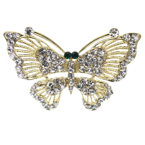 Mi Amore Butterfly Brooch-Pin Gold-Tone/Green