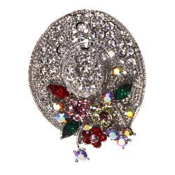Mi Amore Hat Flowers AB Finish Brooch-Pin Silver-Tone & Multicolor