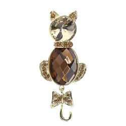 Mi Amore Cat Moveable Tail Bow Brooch-Pin Gold-Tone & Brown