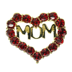Mi Amore Mom Heart Brooch-Pin Red & Gold-Tone