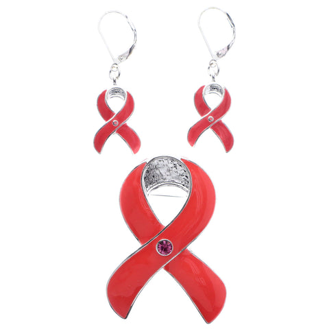Mi Amore Awareness Ribbon Convertible Necklace Pendant Pin-Earring-Set Pink & Silver-Tone