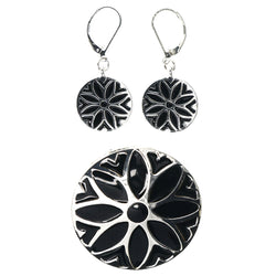 Mi Amore Flower Convertible Necklace Pendant Pin-Earring-Set Silver-Tone & Black