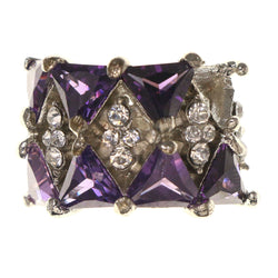 Mi Amore Crystal Sized-Ring Silver-Tone/Purple Size 5.00
