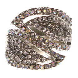 Mi Amore AB Finish Crystal Sized-Ring Silver-Tone Size 7.00