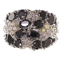 Mi Amore Star Crystal Sized-Ring Silver-Tone & Black Size 7.00