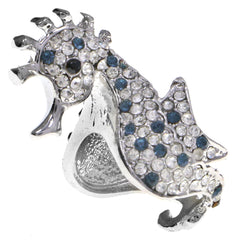 Mi Amore Sea Horse Crystal Sized-Ring Silver-Tone & Blue Size 7.00