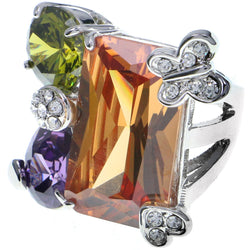 Mi Amore Butterfly Heart Crystal Sized-Ring Silver-Tone & Multicolor Size 8.00