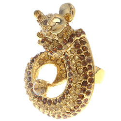 Mi Amore Mouse With Ribbon Crystal Sized-Ring Gold-Tone & Brown Size 8.00